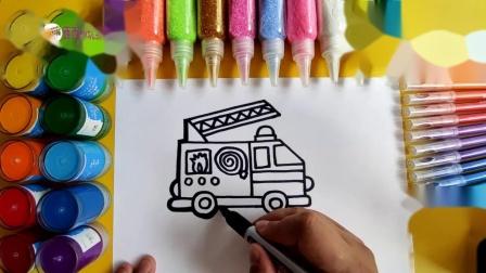 儿童简笔画教程,画一辆消防车,画法简单实用你学会了吗.mp4