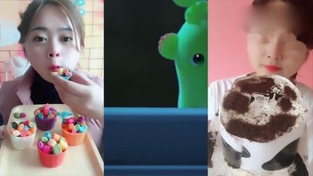 小姐姐直播吃巧克力小盆咖啡豆、小蛋糕,一口超过瘾