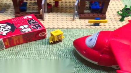 小猪佩奇玩具:乐迪来给海绵宝宝送包裹,海绵宝宝用汉堡感谢乐迪,乐迪效率真高