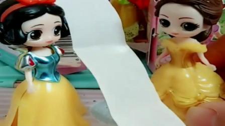 小猪佩奇玩具:白雪贝尔都有贴纸,贝尔趁机把白雪贴画都拿走了