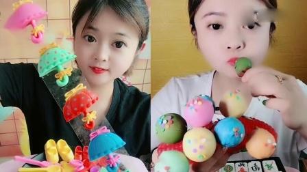小可爱吃播:巧克力小雨伞、彩色巧克力泡芙,看着就想吃
