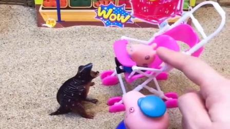 小猪佩奇玩具:乔治来超市买恐龙,猪爷爷总是不理解乔治意思,乔治说话不好使了