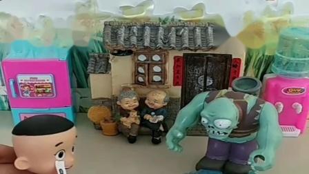 小猪佩奇玩具:大头太小气了,买了水枪都不愿意分给乔治,关键时刻乔治打败坏人