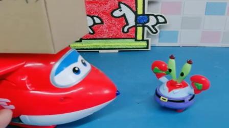 小猪佩奇玩具:乐迪来给海绵宝宝送快递,可乐迪一直认错人,这眼神还可真不行啊