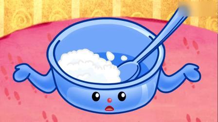 可可小爱:小猪猪剩饭是不对的,要吃光呀,这是农民伯伯辛苦种的
