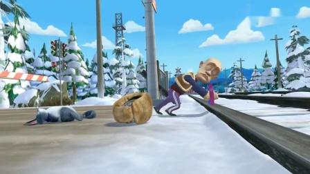 熊出没光头强竟然还要靠肥波救命火车来了强哥有危险了