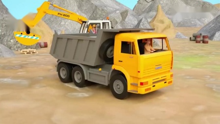 挖掘机、工程车维修损坏的马路,挖掘机表演,儿童早教启蒙动画