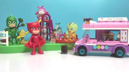 《丁丁鸡爱玩具》积木冰淇淋车来啦,睡衣小英雄和超级飞侠吃了哪些美味呢?.mp4