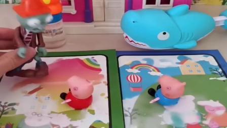 小猪佩奇玩具:乔治佩奇被僵尸抓住,乔治给猪爸爸打电话求救,乔治是临危不乱啊