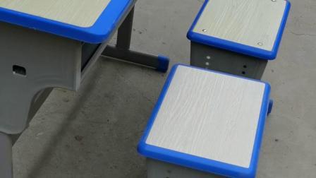 白橡面蓝边双排升降双人课桌