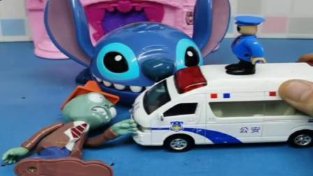 小猪佩奇玩具:乔治叫醒睡懒觉的警察叔叔,警察巡逻找僵尸,幸好还有史迪仔帮忙.mp4