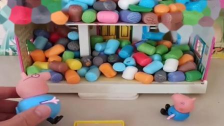 小猪佩奇玩具:猪爸爸准备了棉花糖,还做了一张小床,猪妈妈把乔治的床都吃了