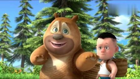 熊熊乐园:光头强他们去野营摘蓝莓,还在森林里举办音乐会!