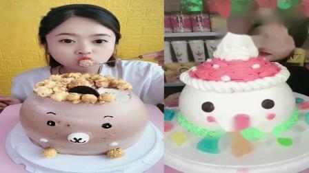 美女试吃:卡通蛋糕小雪人蛋糕,看着超过瘾