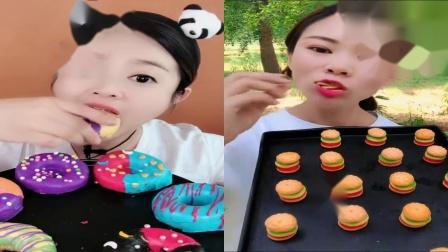 美女试吃:甜甜圈迷你汉堡,一口下去超过瘾
