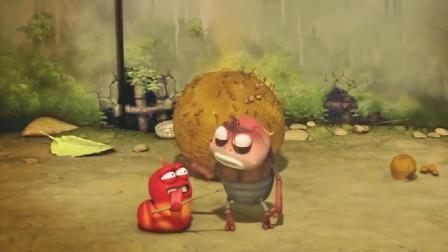 爆笑虫子:小红独占一块披萨,被大黄发现,一口把披萨吃光.mp4