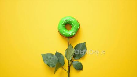 歌曲配乐 c536唯美创意鲜花草生长开放出甜甜圈视频宣传视频素材 背景视频