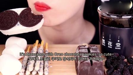吃播大胃王:小姐姐吃播巧克力雪糕木薯珍珠棉花糖,发出的咀嚼声.mp4
