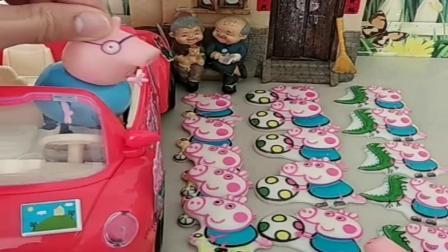 小猪佩奇玩具:大头有很多糖果,猪爸爸给乔治买来巧克力,乔治要和大头分享吗