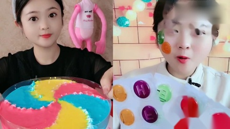 小姐姐试吃:彩虹蛋糕、字母糖,看着就过瘾,是我向往的生活