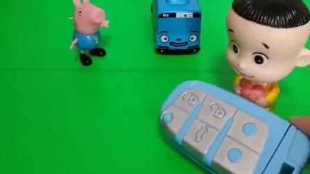 小猪一家都有自己的小汽车,大家都开上车走了,乔治的车钥匙弄丢了