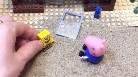 僵尸把汉堡店的门弄坏了,海绵宝宝还以为是乔治弄坏的,海绵宝宝误会乔治了