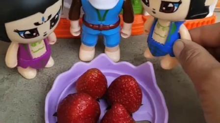 爷爷又出来卖草莓了,葫芦娃让爷爷回家休息,可是葫芦娃忘了草莓多少钱一斤了.mp4