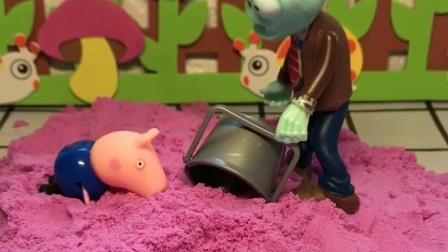 铁通僵尸的帽子不见了,原来是乔治拿着当小桶玩了,也是没谁了