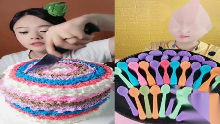 美女试吃:彩虹蛋糕勺子糖,各种颜色任意选,