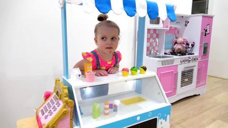 萌娃小可爱的冰淇淋店开业了!—萌娃:卖冰淇淋啦!香甜可口的冰淇淋!