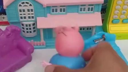 猪爸爸故意不给猪妈妈开门,猪奶奶给猪妈妈做主,猪爸爸还是快溜吧