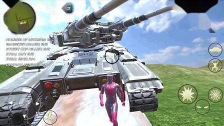 蜘蛛侠绳索英雄:蜘蛛侠好不容易获得坦克,可惜卡住了!