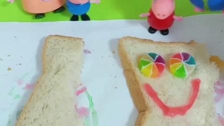 佩琪乔治做了果酱面包,佩琪把果酱面包留给妈妈,佩琪好懂事呀!