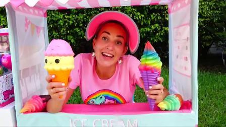 萌娃小可爱发现了一个冰淇淋店,他们没有钱怎么办,萌娃:看我的