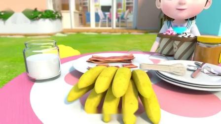 超级宝贝:jojo宝贝喜欢吃花生酱配香蕉,日常简单事物就能激发孩子无限创意