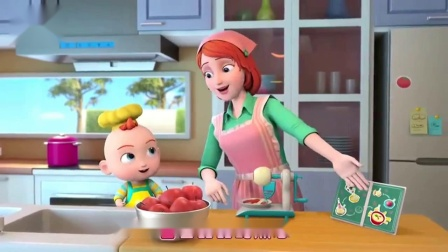 超级宝贝:jojo宝贝和妈妈一起做苹果布丁,手工制作美味的点心
