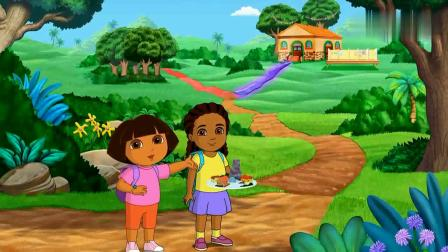 爱探险的朵拉朵拉的人缘真好,遇到了小松鼠,把她送去学校了呢.