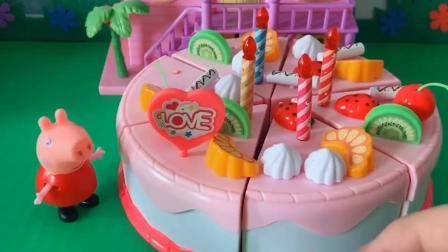 乔治过生日,佩奇给乔治做了一个大蛋糕,佩奇真好!