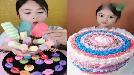 美女直播吃:雪糕大集合彩虹蛋糕,看着超过瘾