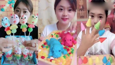 美女吃播:创意小奶狗糖果,各种口味任意选,是我童年向往的生活