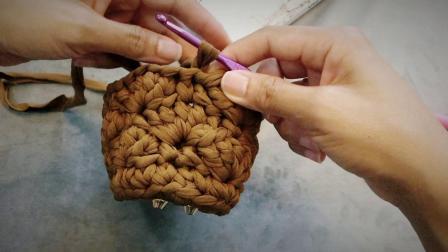 湘湘布艺品布条线花边提手包包编织教程