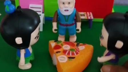 一说吃披萨怎么还来了两个大娃,爷爷都纳闷了,现场出题测试一下!