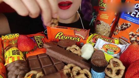 吃播大胃王:小姐姐吃花生黄油巧克力派对,发出的咀嚼声.mp4
