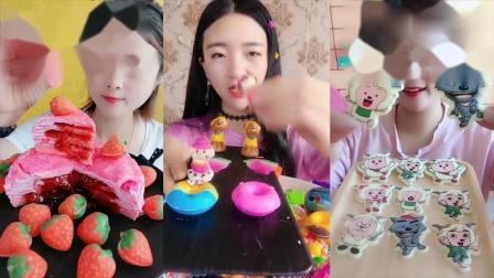 萌姐吃播:彩色千层蛋糕、是我童年向往的生活