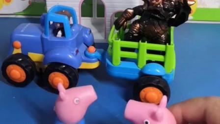 天都快要黑了,猪爸爸猪妈妈还不来接乔治佩奇,结果怪兽开车过来要接他们回家