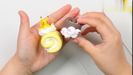 手工粘土DIY:彩泥黏土制作精灵宝可梦皮卡丘小蛋糕