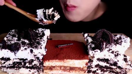 吃播大胃王:小姐姐吃奥利奥冰淇淋提拉米苏蛋糕,发出的咀嚼声.mp4