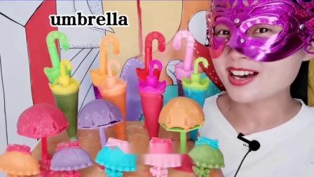 """吃货馋嘴:小姐姐吃""""小雨伞巧克力"""",多种多样真漂亮,香甜醇滑嘎嘣脆.mp4"""