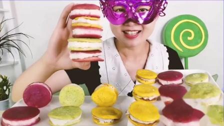 """吃货馋嘴:小姐姐吃""""果蔬马卡龙"""",山药火龙果加鸡蛋,清香甘甜健脾养胃.mp4"""