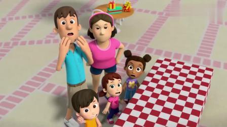 汪汪队:大恐龙破坏了孩子们的生日蛋糕,还朝着孩子们大吼大叫呢
